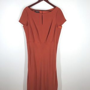 Lafayette 148 100% Silk Burnt Orange Sheath Dress